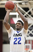 IMG Academy's Silvio De Sousa #22 shoots a free throw against Wasatch Academy during a high school basketball game at the 2017 Hoophall Classic on Sunday, January 15, 2017, in Springfield, MA. (AP Photo/Gregory Payan)