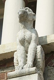 "A ""grotesque"" on the east side of Dyche Hall."