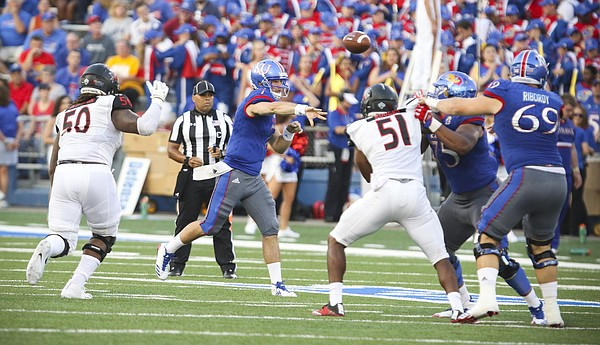 Kansas quarterback Peyton Bender (7) throws against the Southeast Missouri defense during the second quarter on Saturday, Sept. 2, 2017 at Memorial Stadium.