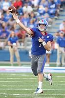Kansas quarterback Peyton Bender (7) throws during the second quarter on Saturday, Sept. 2, 2017 at Memorial Stadium.