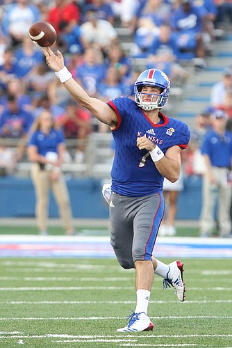 Kansas quarterback Peyton Bender (7) throws during the second quarter on Saturday, Sept. 2, 2017 at Memorial Stadium.