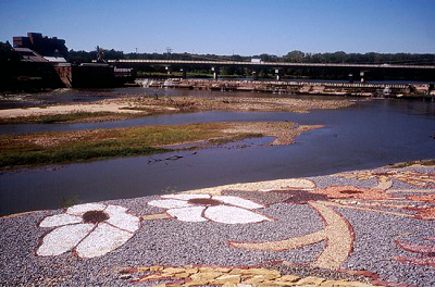 Stan Herd's rock art on the Kansas River Levee in Lawrence. 
