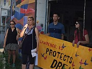 Mayor Leslie Soden speaks at the Lawrence Defends DACA Solidarity March, held Thursday, Sept. 7, 2017, in downtown Lawrence.