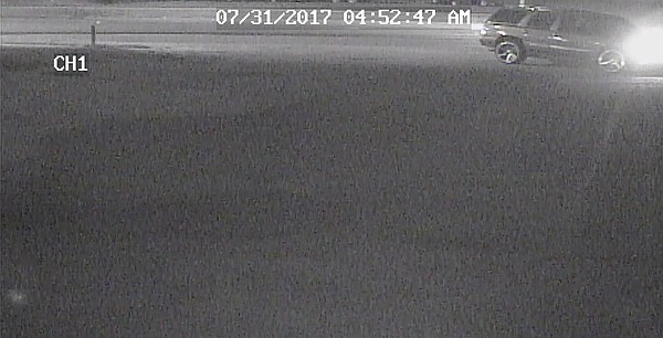 This surveillance photo from the Lawrence Police Department shows a vehicle suspected of being linked to the thefts of ATVs and trailers from businesses on 23rd Street in July 2017. Police note that the time stamp on the image is not correct, however.