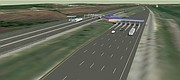 "This rendering shows how the toll plaza will appear to eastbound traffic exiting the Kansas Turnpike at the eastern terminal near Bonner Springs, once reconstruction of the plaza is completed, expected before the end of 2017. The $16.5 million project will add ""open road tolling"" lanes in both directions, which drivers with K-Tags can zoom through at 75 mph."
