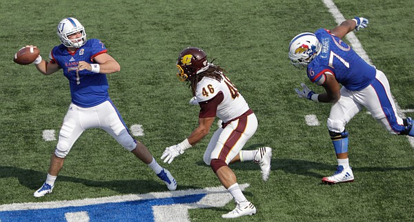 Kansas quarterback Peyton Bender (7) passes during the Jayhawks game against Central Michigan Saturday, Sept. 9 at Memorial Stadium.