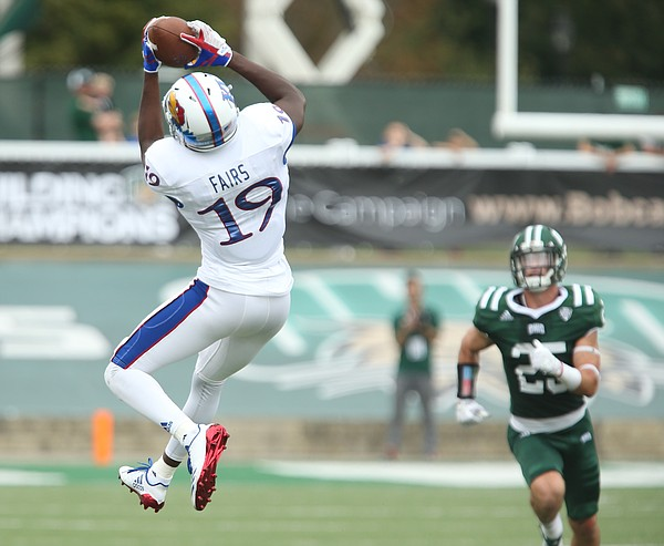 Kansas wide receiver Evan Fairs (19) pulls in a deep catch late in the fourth quarter on Saturday, Sept. 16, 2017 at Peden Stadium in Athens, Ohio.