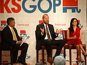 Brad Parscale, center, a Topeka native who worked as technology director for Donald Trump's presidential campaign, and Katrina Pierson, one of Trump's campaign spokespeople, answer questions from Kansas Republican Party chairman Kelly Arnold during a GOP fundraising event Tuesday evening in Topeka.