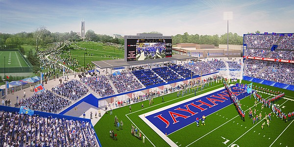 Rendering of Memorial Stadium's new south end zone, at completion of renovation project.