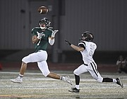 Free State junior receiver Keenan Garber makes catches a touchdown pass on Friday against Shawnee Mission Northwest at FSHS.