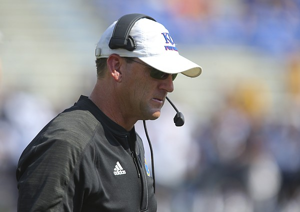 Kansas head coach David Beaty shows his frustration after a West Virginia touchdown during the fourth quarter on Saturday, Sept. 23, 2017 at Memorial Stadium.