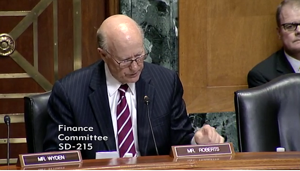 Republican Sen. Pat Roberts of Kansas, a member of the Senate Finance Committee, defends a GOP health care bill to repeal and replace the Affordable Care Act during the bill's one and only committee hearing Monday.
