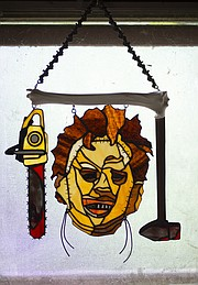 "Niswonger&squot;s homage to Leatherface from the late 1970s low-budget horror movie ""The Texas Chainsaw Massacre."""