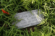 Walter placed a newer headstone near where he believes the grave of his great-grandfather William Grauel is located at the cemetery.