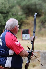 Mark Hodges, of Lawrence, gets ready to take aim at his target during the World Archery 3D Championships last month in Robion, France. Hodges, a longtime PE teacher at Sunflower Elementary, already has five national archery championships under his belt. He competed as a member of the gold-winning Team USA at the world competition, which ended Sept. 24.