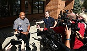 Lawrence Police Capt. Anthony Brixius gives an update on two men who were wounded in the downtown shooting Sunday morning on Monday, Oct. 2, 2017, at the Lawrence Police Department Training Facility, 4820 Bob Billings Parkway.
