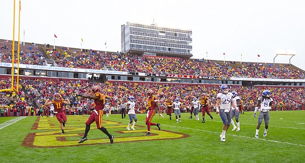 Kansas linebacker Joe Dineen Jr. (29) and the Jayhawks show their frustration as Iowa State wide receiver Marchie Murdock (16) runs in another touchdown during the third quarter on Saturday, Oct. 14, 2017 at Jack Trice Stadium in Ames, Iowa.