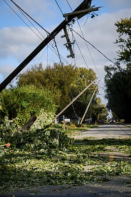 Power lines were down at Lyon and Seventh streets in North Lawrence on Sunday, Oct. 15, 2017, following severe storms the night before.