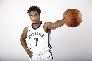 Memphis Grizzlies guard Wayne Selden Jr. poses during the team's NBA basketball media day Monday, Sept. 25, 2017, in Memphis, Tenn. (AP Photo/Mark Humphrey)
