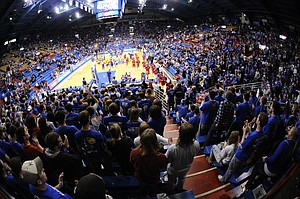 The pregame men's basketball crowd at Allen Fieldhouse is shown in this file photo from Dec. 2, 2009.