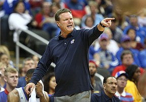 Kansas head coach Bill Self gets at his players during the second half of the Showdown for Relief exhibition, Sunday, Oct. 22, 2017 at Sprint Center in Kansas City, Missouri.