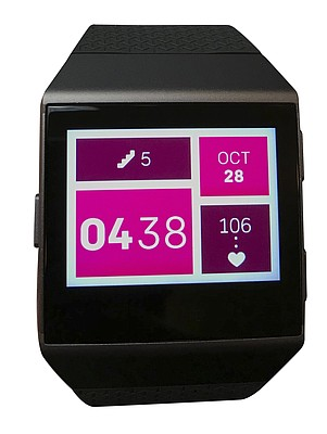 Health reporter Mackenzie Clark's Fitbit Ionic is shown on Oct. 28, 2017.