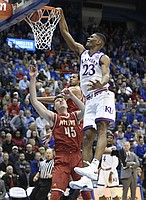 Kansas freshman forward Billy Preston throws down a one-handed dunk in an exhibition game against Pittsburg State on Tuesday at Allen Fieldhouse.