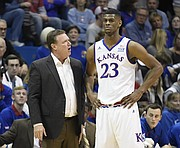 Kansas basketball coach Bill Self talks with freshman forward Billy Preston in the first half of Tuesday's exhibition game against Pittsburg State at Allen Fieldhouse.