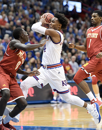 Kansas senior Devonte' Graham flies up the floor during KU's exhibition victory over Pitt State on Tuesday night. (Photo by Mike Gunnoe)