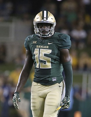 Baylor wide receiver Denzel Mims in the first half of  game against West Virginia Saturday, Oct. 21, 2017, in Waco, Texas. (AP Photo/Jerry Larson)