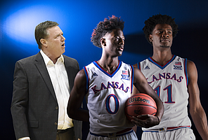 From left to right, KU coach Bill Self, freshman guard Marcus Garrett and former KU player Josh Jackson.