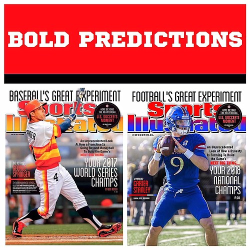 The two covers: The one on the left, from Sports Illustrated about the Houston Astros. And the one on the right from Bryce Wood about Kansas football.