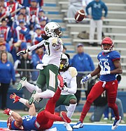 Baylor Bears cornerback Verkedric Vaughns (27) bats away an end zone pass to Kansas wide receiver Ryan Schadler (33) during the first quarter on Saturday, Sept. 4, 2017 at Memorial Stadium.