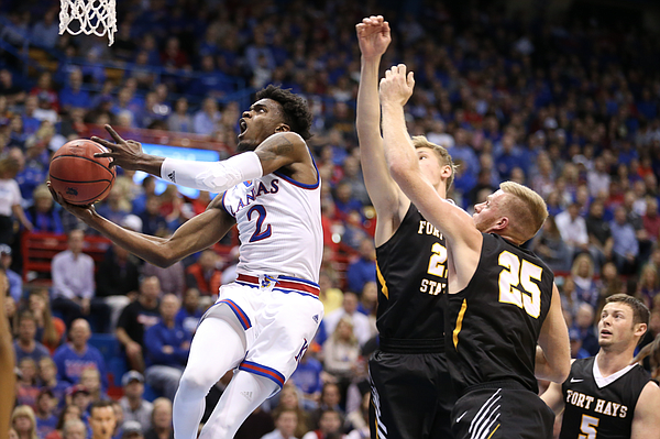 Lagerald Vick goes to the rim for Kansas during Tuesday's exhibition victory over Fort Hays State.