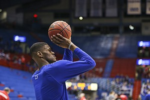 Kansas forward Billy Preston (23) puts up a shot during warmups prior to tipoff against Fort Hays State, Tuesday, Nov. 7, 2017 at Allen Fieldhouse.
