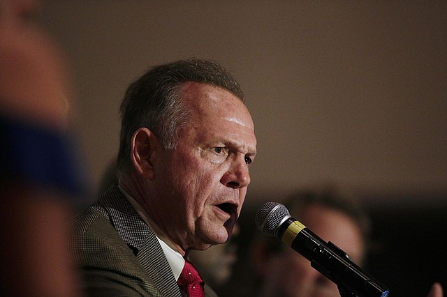 Former Alabama Chief Justice and U.S. Senate candidate Roy Moore during speaks during his election party, Tuesday, Sept. 26, 2017, in Montgomery, Ala.  (AP Photo/Brynn Anderson)