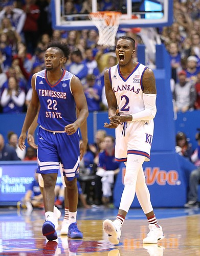 Kansas guard Lagerald Vick (2) gets fired up after a three pointer during the first half on Friday, Nov. 10, 2017 at Allen Fieldhouse. At left is Tennessee State guard Daniel Cummings (22).