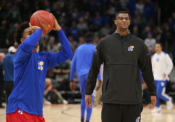 Kansas forward Billy Preston watches during warmups on Tuesday, Nov. 14, 2017 at United Center. Preston was held out of Tuesday's contest.