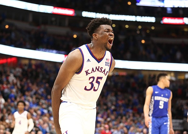 Kansas center Udoka Azubuike (35) roars after a foul by Kentucky late in the second half on Tuesday, Nov. 14, 2017 at United Center.