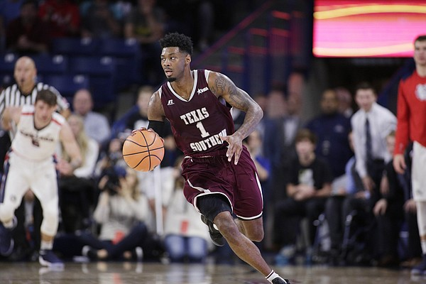 Texas Southern guard Donte Clark (1) dribbles the ball during the second half of an NCAA college basketball game against Gonzaga in Spokane, Wash., Friday, Nov. 10, 2017.
