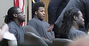 From left, Tyrone J. Carvin, Shawn K. Smith and Ramone Singleton appear during a joint preliminary hearing on Tuesday, Nov. 21, 2017, in Douglas County District Court. The three men are charged with murder and other crimes in connection with a Sept. 2, 2017 shooting at the North Lawrence Motel 6.