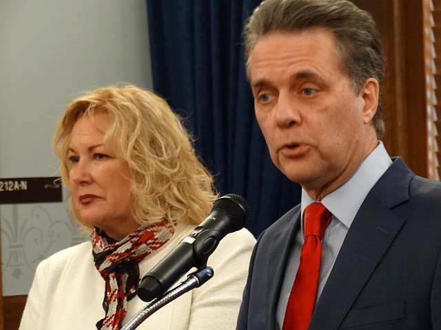Lt. Gov. Jeff Colyer introduces Gina Meier-Hummel, of Lawrence, to be the next secretary of the Department for Children and Families, Nov. 22, 2017, at the Kansas Statehouse in Topeka.