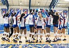 The Kansas volleyball team breaks its huddle after a five-set loss to West Virginia on Saturday, Nov. 25, 2017 at Horejsi Family Athletics Center.