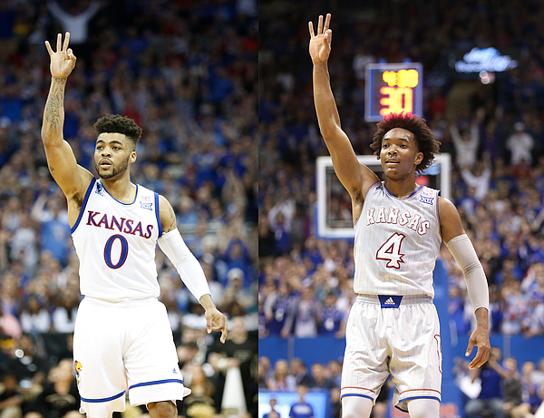 Frank Mason III, shown here in a Sweet 16 victory over Purdue, and Devonte' Graham, shown during Tuesday's blowout of Toledo, are not exactly carbon copies of one another, but Graham has raced out of the gate much the way his predecessor and former teammate did a season ago. (Nick Krug photos)