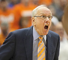 Syracuse head coach Jim Boeheim yells to his players in the second half of an NCAA college basketball game in Syracuse, N.Y., Wednesday, Feb. 22, 2017. Syracuse won 78-75. (AP Photo/Nick Lisi)