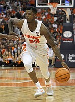 Syracuse's Frank Howard drives to the basket in the second half of an NCAA college basketball game against Cornell in Syracuse, N.Y., Friday, Nov. 10, 2017.