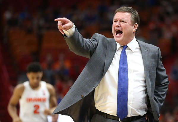 Kansas head coach Bill Self calls out a play during the second half, Saturday, Dec. 2, 2017 at American Airlines Arena in Miami.