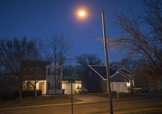 Pictured is a non-LED streetlight in the 1600 block of Matthew Terrace.