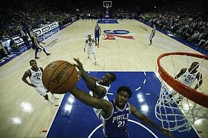 Philadelphia 76ers' Joel Embiid in action during an NBA basketball game against the Utah Jazz, Monday, Nov. 20, 2017, in Philadelphia. (AP Photo/Matt Slocum)