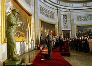 In this file photo from June 4, 2003, former Sen. Bob Dole helps unveil a bronze Dwight D. Eisenhower statue in the U.S. Capitol Rotunda, in Washington. (AP Photo/Rick Bowmer)